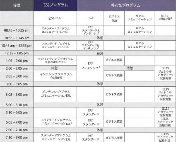 HSL schedule 620x500 - HSL トロント(ハンソン・スクール・オブ・ランゲージ)