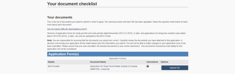 documents - カナダの学生ビザの取得方法を申請画面の和訳付きで徹底解説!